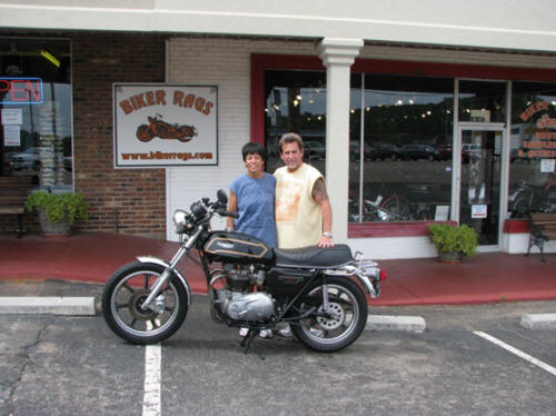 Jeff and Pam with 1979 Triumph Bonneville Special