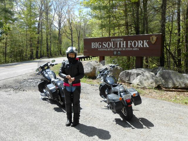 Pamo in front of the entrance sign into Big South Fork.