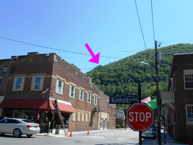 Downtown Pineville. Chained Rock is in the center of this photo. (See pink arrow.)