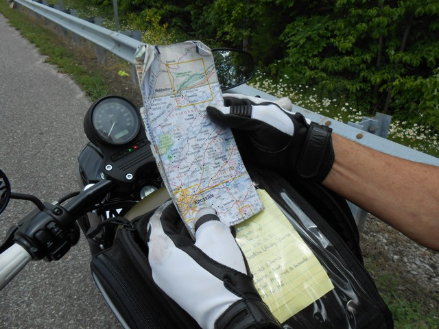 Jeff checks the map. We were lost but not worried.
