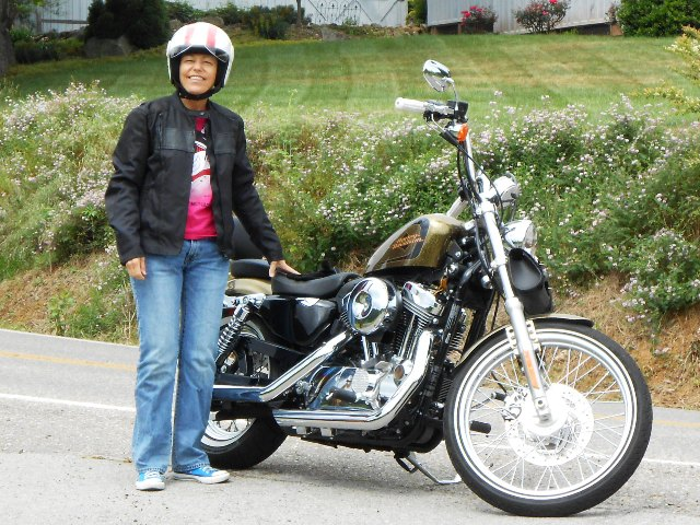There's Pamo and her Sportster.