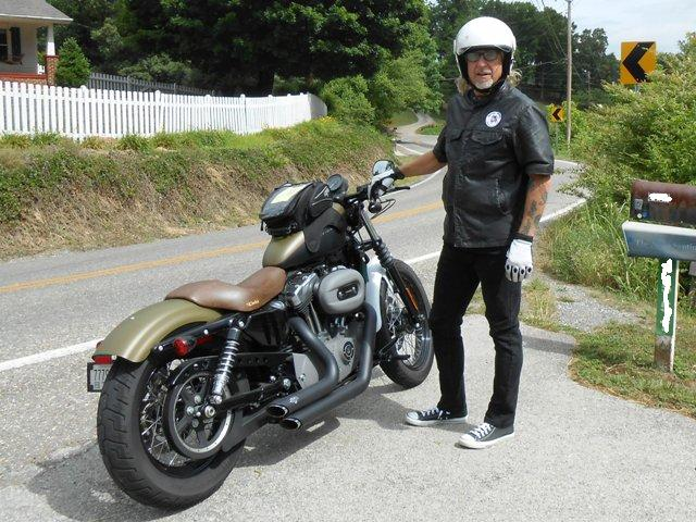 Jeff and his Sportster. Perfect bike for country roads.