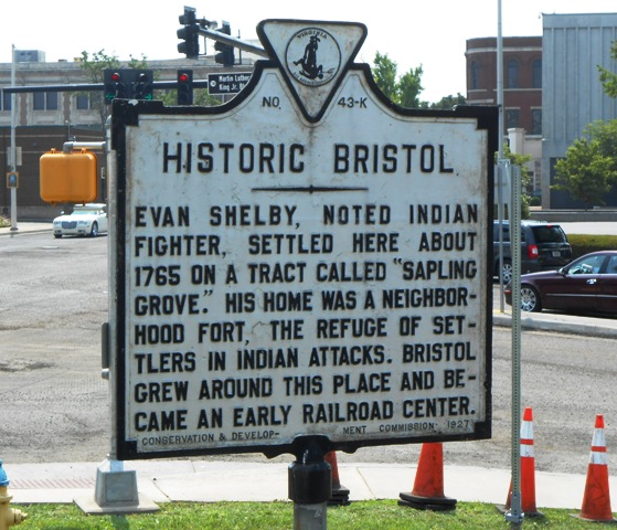 Historical marker in downtown Bristol, near the Bristol sign.