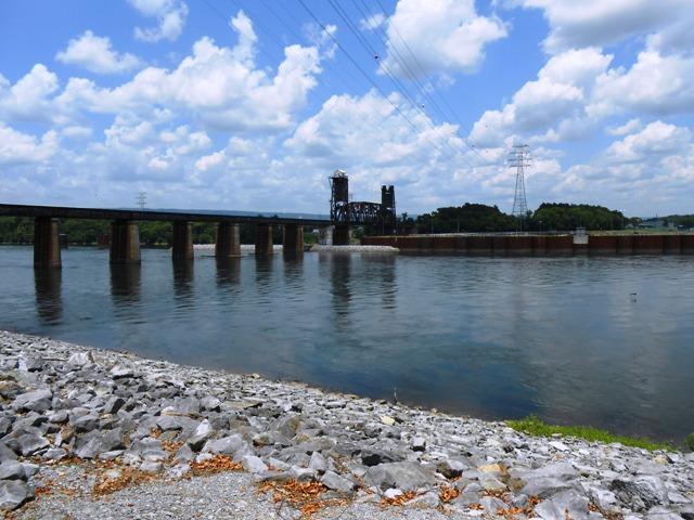 A railroad bridge opposite the dam.