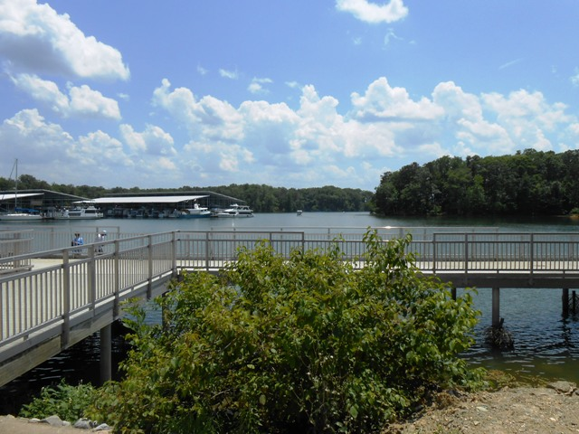 A dock overlooking the lake at Harrison Bay State Park.