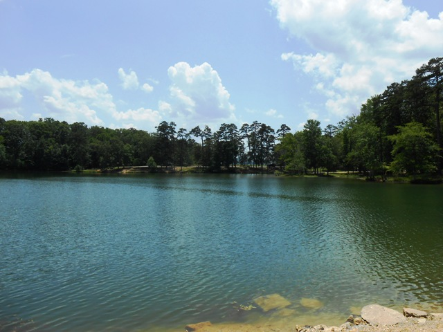 The lake is beautiful.