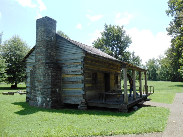 This is a replica of Davy Crockett's family cabin.