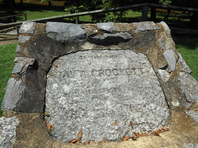 Stone marker of Davy Crockett's birthplace.