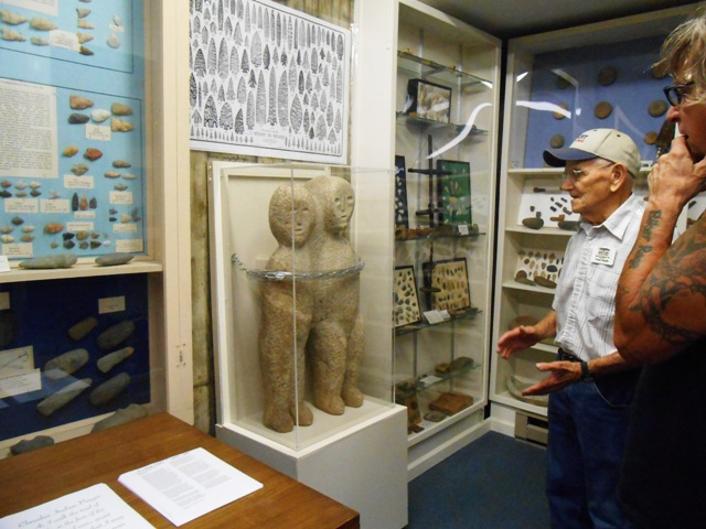 Fred, the museums curator, tells us the history behind this Indian made statue found on a local farm.