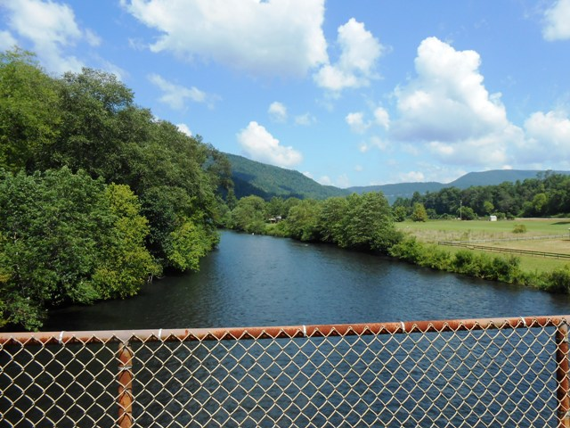 On the bridge looking over the Hiwassee River.