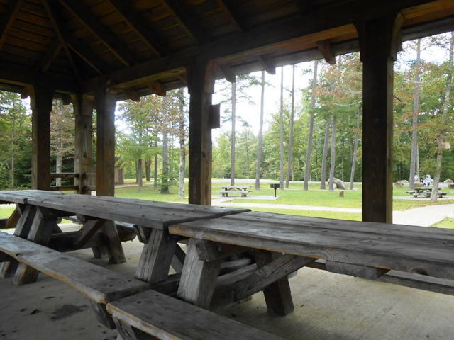 We stopped to rest and talk on the covered picnic tables.