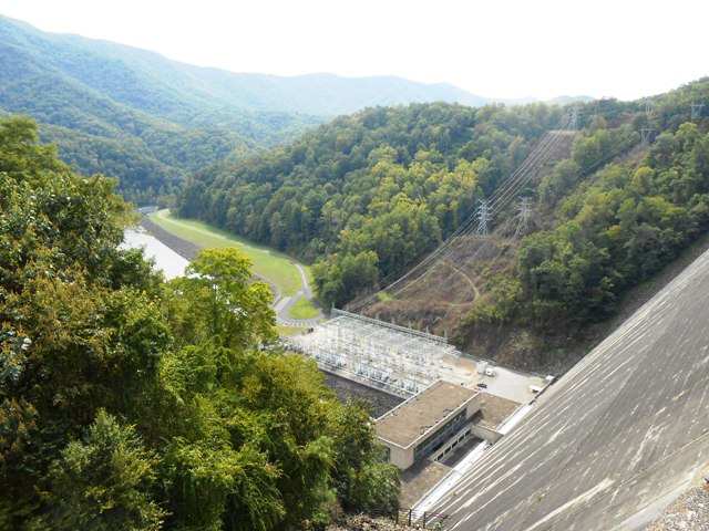 View from the top of Fontana Dam.