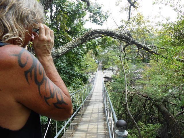 Getting ready to cross the swinging bridge....