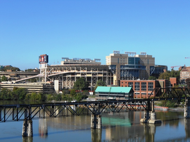 View of Neyland Stadium from the bridge.