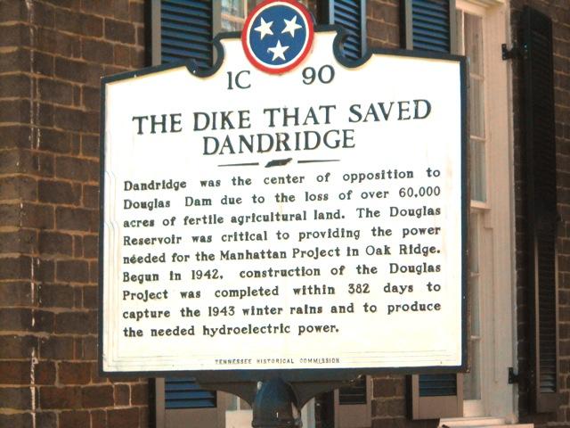 Placard in downtown Dandridge below the dike.