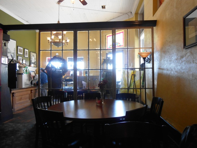 Looking toward the front lobby of Hunter's Cafe from the dining area.