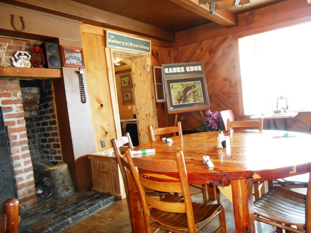 The interior is rustic and warm.