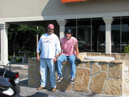 Steve and Jeff on the patio wall at Biker Rags.