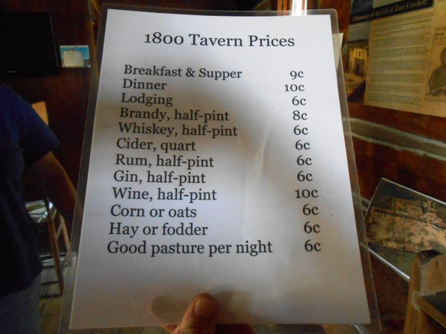 1800 tavern prices.