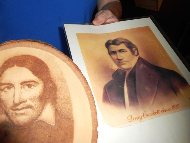Two likenesses of Davy Crockett.