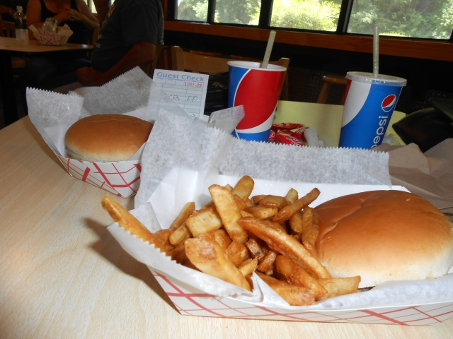 Burger and fries, of course.