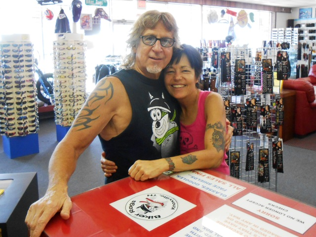 That's us, Jeff and Pamo, at Biker Rags. (Thanks Silas for snapping the photo.)
