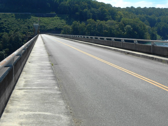 That's the road going over Norris Dam that our ride will travel.