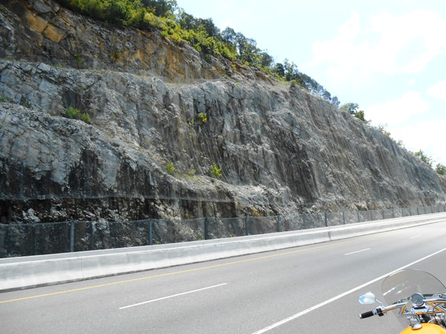 View of the huge rock face along some of 25E.