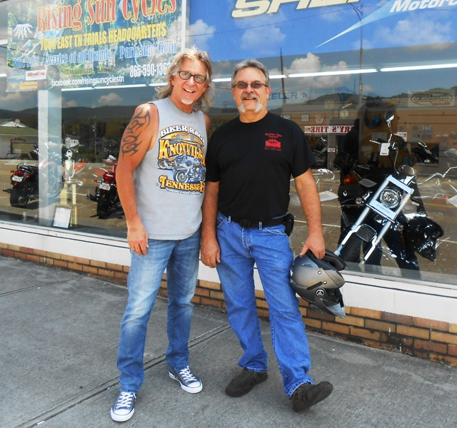 Jeff and Rusty, owner of Rising Sun Cycles.
