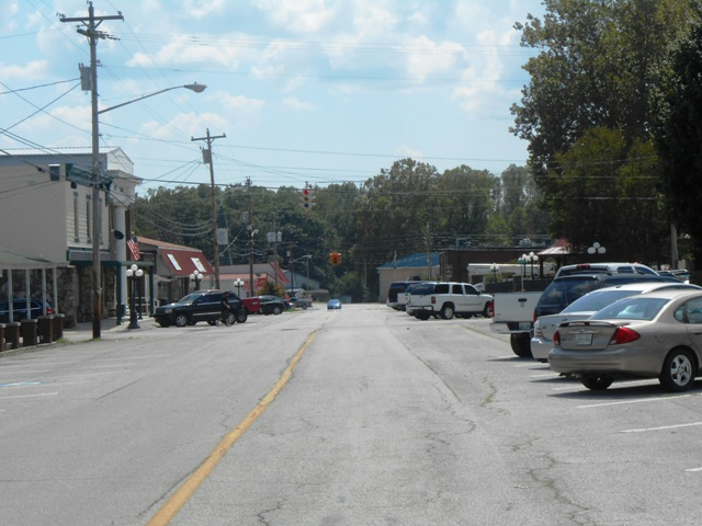 View of one of the main streets in downtown Wartburg.