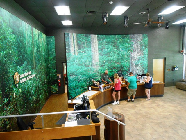 Inside the visitor center. The staff is friendly and helpful.