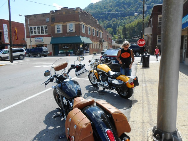We rode into downtown Pineville- famous for the Chained Rock- seen in the far distance above the FloCo restaurant.