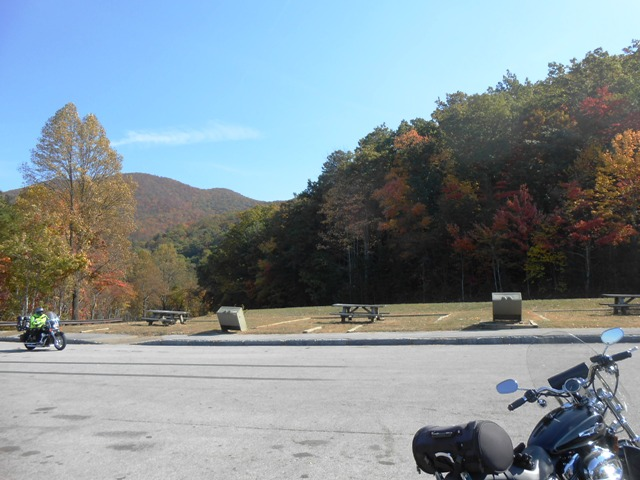 Parking area at one of the first overlooks that we stopped at.