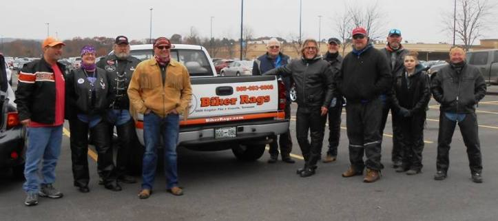 The riders with the Biker Rags truck.