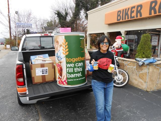 There's Pamo. She drove the truck to Camping for Cans.