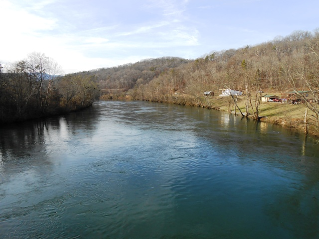 View from the bridge where Lovely Bluff Drive and River Road meet.