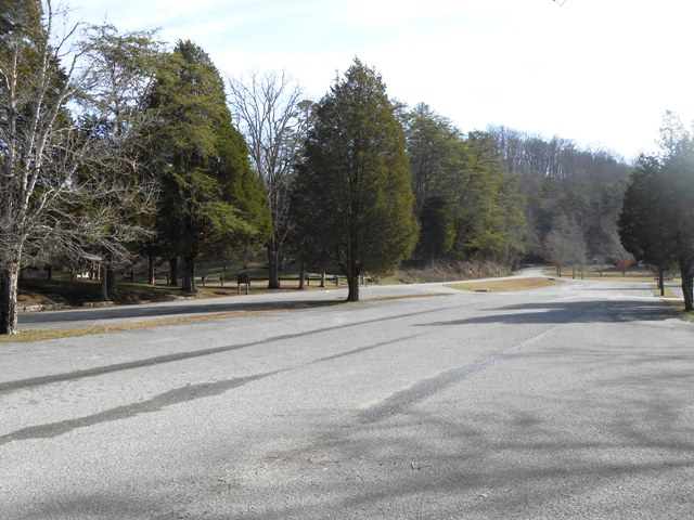 Parking lot in Big Ridge State Park.